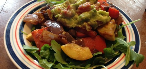 Fajita Vegetable salad with guacamole