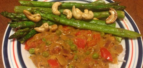 Coconut Curry with Grilled asparagus