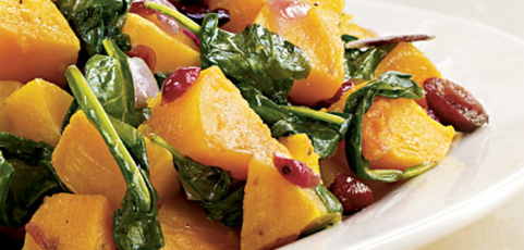 Butternut Squash with Baby Spinach